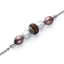 Stainless Steel Brown Rounded & Coffee Tone Bead Chain Bracelet - $54.99