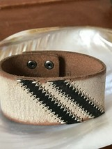 Fossil Genuine White Crackle Leather with Two Dark Brown Slanted Stripes Wide  - $27.90