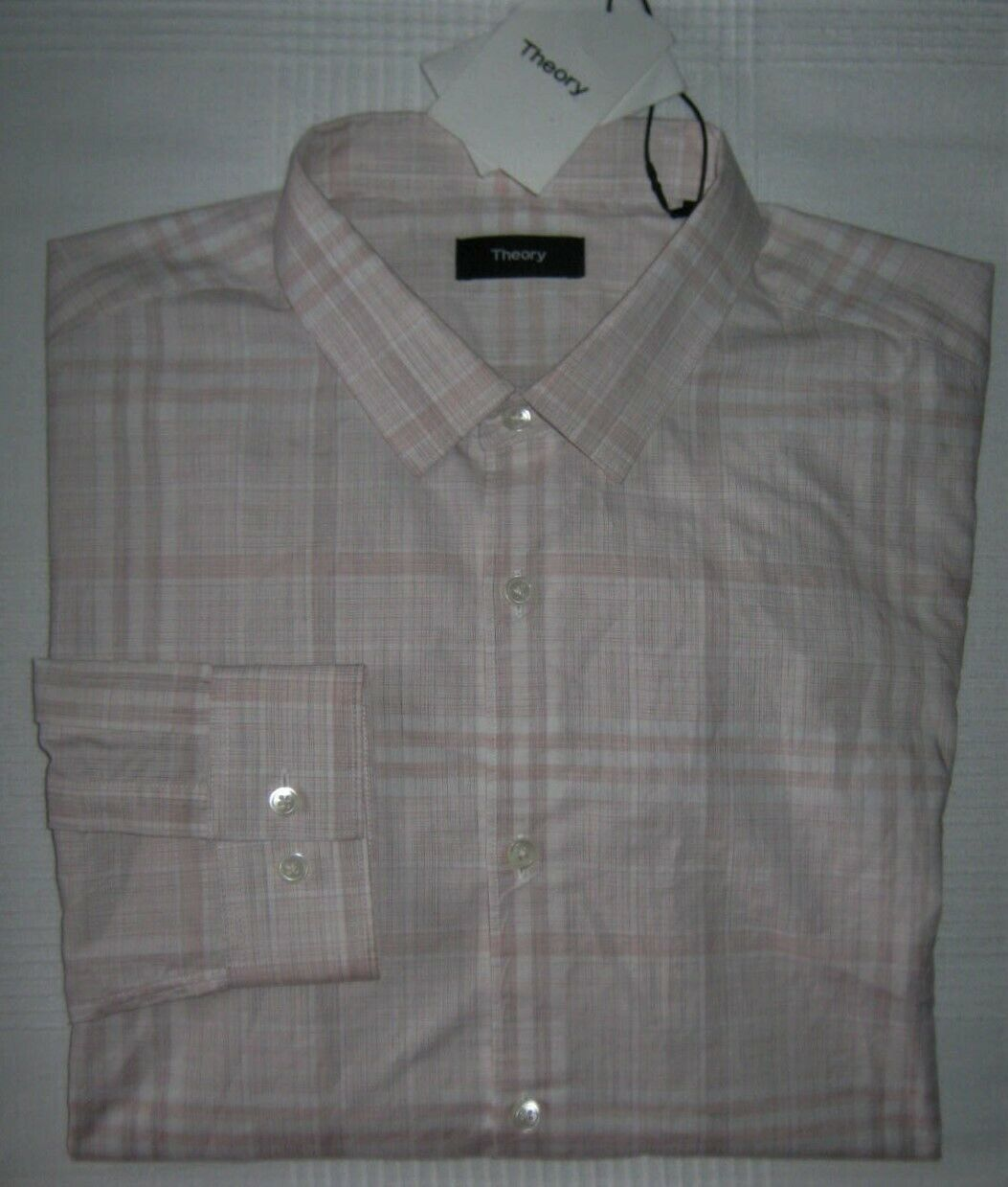 Theory Mens Murrary Dada Melange NWT $195 Plaid Button-down Shirt Pink Plaid XL