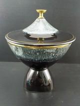 Vintage MID CENTURY HULL RAISED DISH Gold Rimmed Splatter Pattern Black ... - $28.70