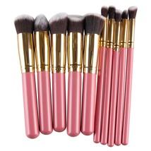 Pink golden Pro High Quality 10 Pcs Makeup Brushes Foundation Blending B... - $22.00
