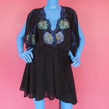 Free People Cora Black Mini Dress S 6 8 10 Embroidered Boho Hippie Gypsy... - $62.33