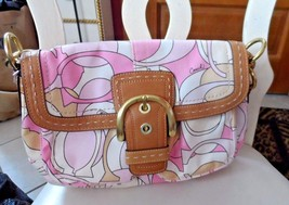 Coach Pink C Logo Signature Canvas handbag  with medium brown leather trim - $45.00