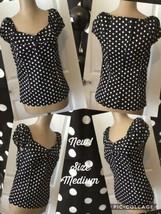 NEW! Meaneor Ladies Top Size Medium Black White Polka Dot Short Cap Slee... - $7.91