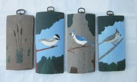 Painted Wood Panel Lot of 4 Primitive Bird and Nature Art Signed Pete 80... - $14.24