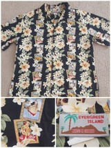 Vintage Evergeen Island Hawaiian shirt size XL  Hula Girl Cruise Ship Hi... - $14.03
