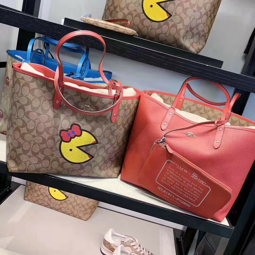 Coach F72900 Ms PAC MAN Signature Reversible Khaki Red Tote Handbag Authentic