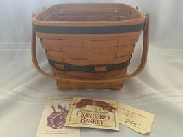 Longaberger Christmas 1995 Cranberry Basket green trim with plastic protector - $14.95