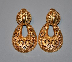 Vintage Retro Sarah Coventry Clip On Earrings Gold Tone Fancy Earrings - $11.40