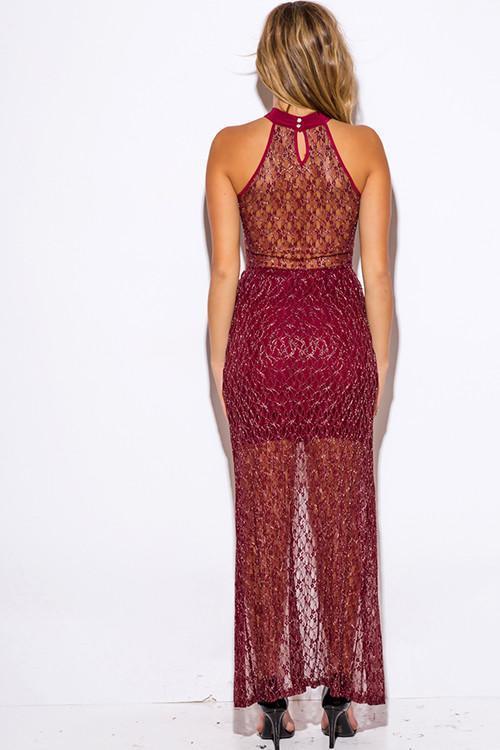 Women's metallic lace high low dress