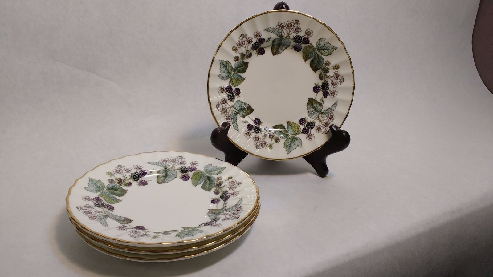 Royal Worcester Lavinia Four Bread & Butter Plates BONE CHINA Blackberries