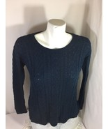 American Eagle Women Navy Blue Long Sleeve Shirt Size L Soild Color Bin78#8 - $14.03