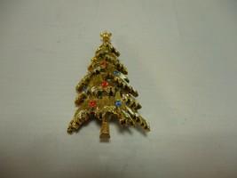 "Vintage Rhinestone Christmas Tree Brooch Gold Tone W/Snow 2 1/4"" T x 1 1... - $8.29"