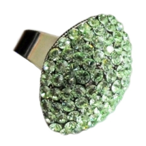 Crystal Cluster Ring Peridot Lime Green  Egg Shape Adjustable Size Silver Metal - $14.99
