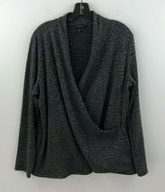 Talbots 1X Faux Wrap Blouse Top Womens Gray Animal Snake Print Long Slv ... - $24.14