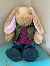 Build A Bear Bunny Rabbit Pawlette BAB 2016 Shirt Attached Jacket Jeans Boots EX - $29.02