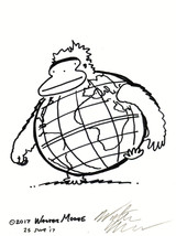 Global Ape. Original Signed Cartoon by Walter Moore - $9.54