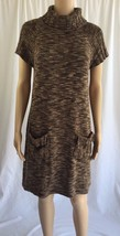 CALVIN KLEIN Brown Sweater Dress Marled Medium Knee Turtleneck Short Sle... - $24.20