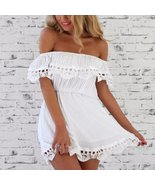 Summer Off Shoulder Lace Women Mini Dress - $21.98