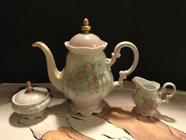 Hutschenenreuther Signed Techla 1989 Hand Painted Teapot, Creamer, Sugar... - $39.60