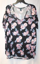 New Womens Plus Size 3X Black W Roses Rosy Cut Out Shoulder Triangles Shirt Top - $18.37