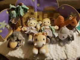 Precious Moments Tender Tails 1999 Plush Stuffed Nativity 10 pieces MANGER - $62.89