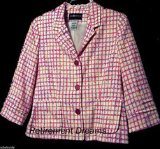 SAG HARBOR Jacket 8 8P P Pink Blazer Novelty Slubs Jacket NEW Petite - $33.00