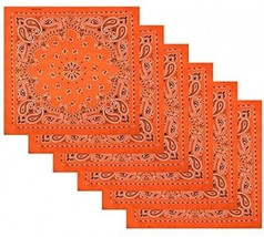 6 Pack Cotton Handkerchiefs Wreath Bandana,Orange - $22.86
