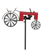 WHW Whole House Worlds Americana Garden Stake, Red Farm Tractor, Turning... - $43.65