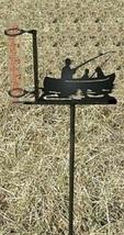 Fisherman Rain Guage - Rustic Metal Cabin Lodge Garden Yard Decor - $38.00