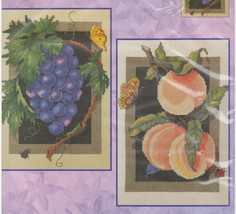 Grapes and Peaches Counted Cross Stitch Kit Brenda Tustian Bucilla 42857 USA  - $24.13