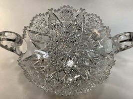 ABP cut glass Expanding star handled dish antique crystal - $181.98