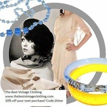 Art Deco 1920s Bangle  Bracelet Vintage  Blue Glass Gold Accents - $40.50
