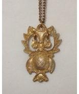 Vintage Owl Necklace Gold Tone Costume Flower Eyes - $19.90