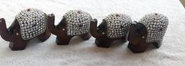 4 pc Wooden Elephant figurine beads studded handmade statue home decor gift - $36.28