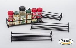 Set of 4 Black Wall-Mount Single Tier Spice Rac... - $35.65