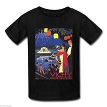 VINTAGE FRENCH VICHY COMITE DES FETES TRAVEL ART Black T-Shirt S M L XL ... - $18.99+