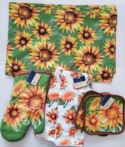 Sunflower Kitchen Linens Set, 9pc, Placemats Towels Potholders Mitt Yellow Green image 1