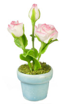 DOLLHOUSE MINIATURES WHITE ROSES IN POT #G7376 - $8.90