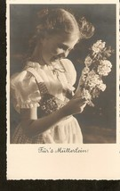Photo postcard germany girl with flower for mother walter flechssig - $2.36