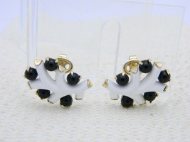 "VTG RARE CROWN TRIFARI Gold Tone ""Punctuation White"" Lucite Clip Earrings image 2"