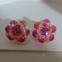 Signed Jonne Pink Rhinestone/Shell  Clip Earrings - $44.10