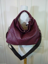 NWT Furla Burgundy Red Wine Ostrich Embossed Leather S Elisabeth Tote Ba... - $423.72