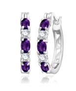 February Amethyst 2.00 Ct Hoop Earrings with Diamonds Sterling Silver - $49.49