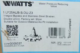 Watts 1 Inch Water Pressure Reducing Valve Integral Bypass 0009337 image 6