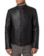 Mens Quilted Jacket Fashion Leather Jacket Real Slim fit Men Leather Jacket - $116.57+