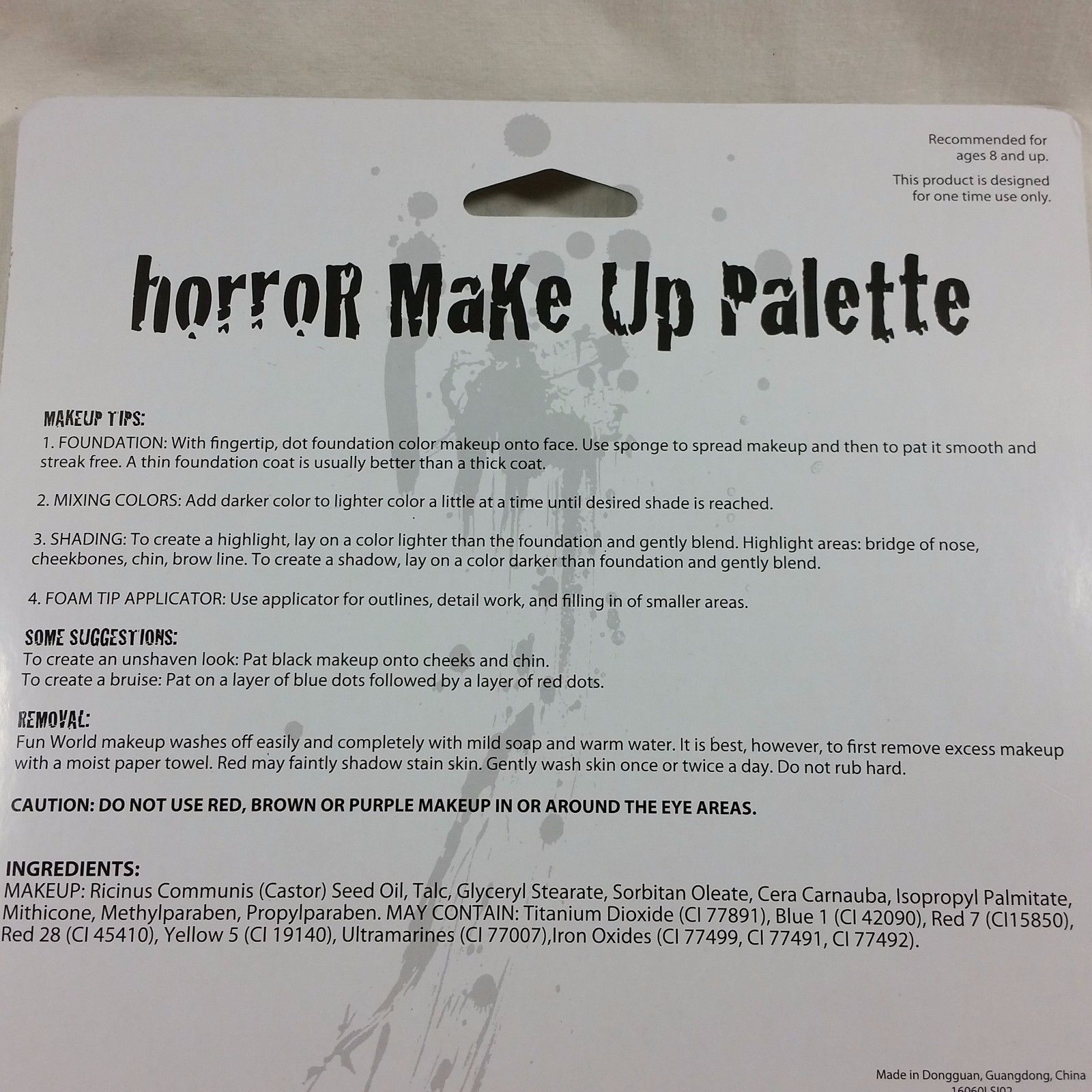 Horror Makeup Palette 8 Colors Costume Grease Theatre Special Effects Halloween