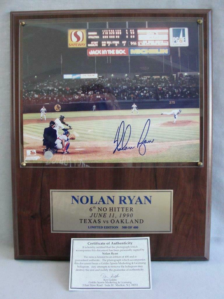 Primary image for Nolan Ryan 6th No Hitter Autographed Limited Edition 1990 Photograph with COA