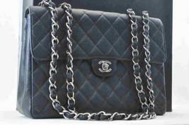 CHANEL Caviar Skin Matelasse 30 Shoulder Bag Black Silver chain CC Auth SA048 - $2,980.00