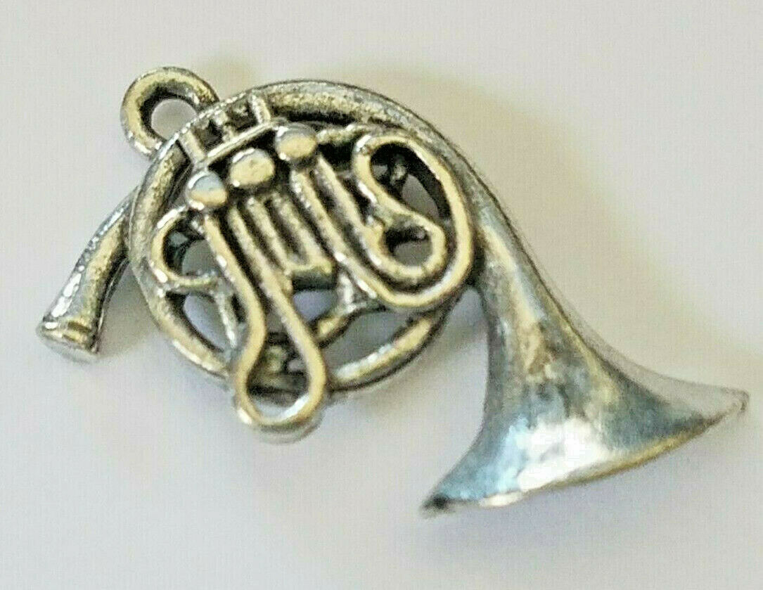 FRENCH HORN FINE PEWTER CHARM PENDANT - 19mm L x 22mm W x 4mm D